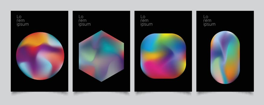 Abstract geometric modern colorful gradient shapes composition cover set design. Vector illustration