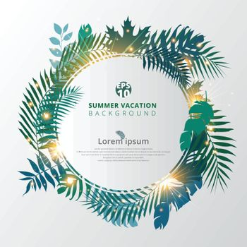 summer tropical with exotic palm leaves or plants and lighting effect on white background. Vector illustration