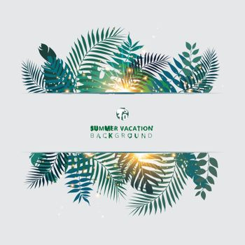 Trendy summer tropical with exotic palm leaves or plants and lighting effect on white background. Vector illustration