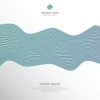 Abstract blue lines wave pattern on white background. Vector illustration