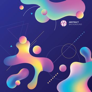 Abstract colorful plastic shapes with geometric on blue background. Vector illustration