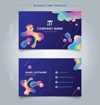 Template Business card and name card colorful plastic shapes with geometric on blue background. Vector illustration