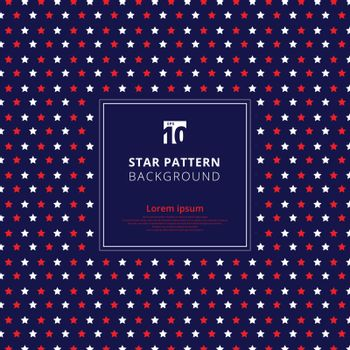 Abstract red and white star pattern on blue background, American flag. Vector illustration