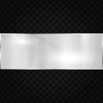 Silver metallic banner on black squares textured background. Vector illustration