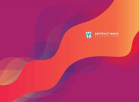 Abstract modern waves overlap on purple background. Vector illustration