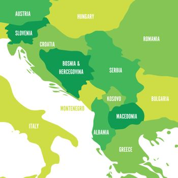 Political map of Balkans - States of Balkan Peninsula. Four shades of green vector illustration