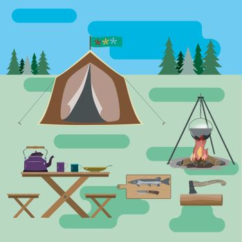 A set of accessories for traveling to nature. For active and life-loving people. Cook dinner at the stake.