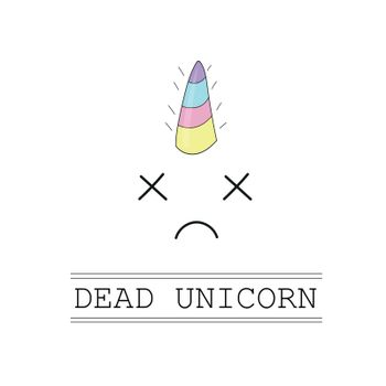 Vector. dead unicorn head with crossed eye and rainbow mane on white