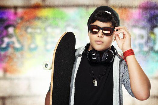 Handsome skateboarder portrait