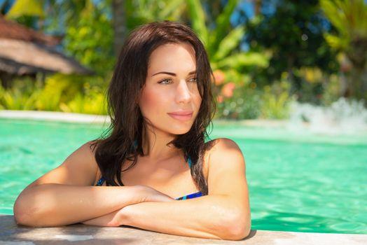 Nice female on a beach resort