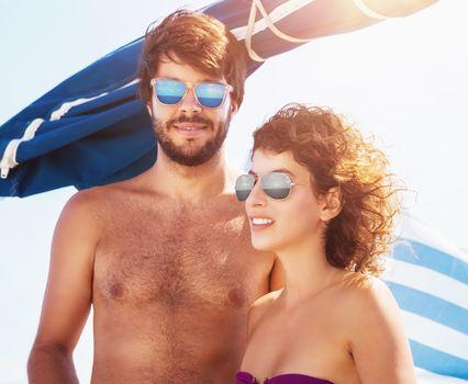 Cute couple on sailboat