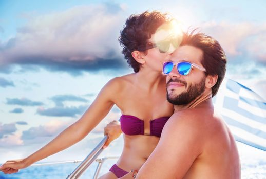 Loving couple on sailboat