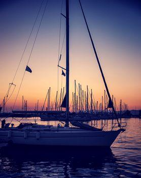 Beautiful sailboat on sunset