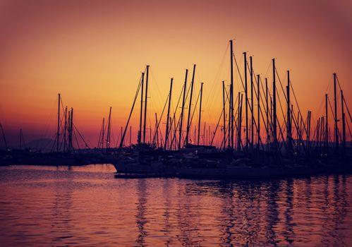 Sailboat harbor on sunset