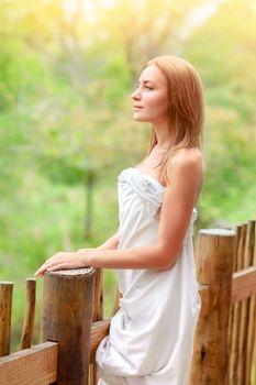 Gentle woman on terrace