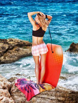 Woman enjoying beach activity