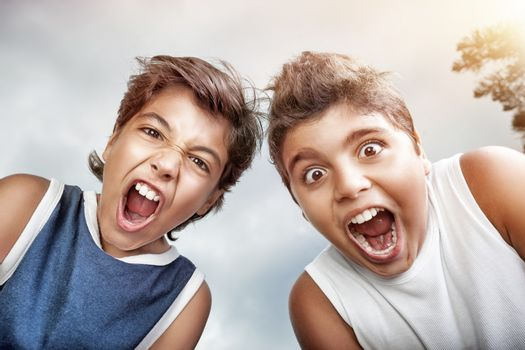 Portrait of a two crazy boys