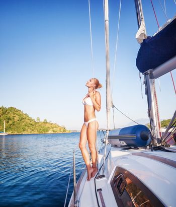 Gentle woman on sailboat