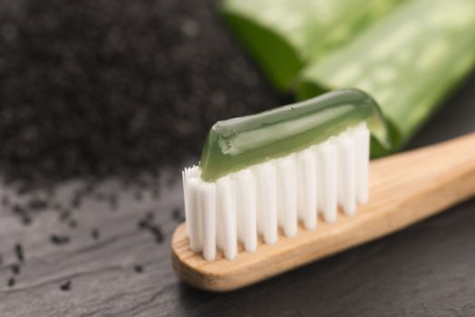 Toothbrush with toothpaste with aloe vera