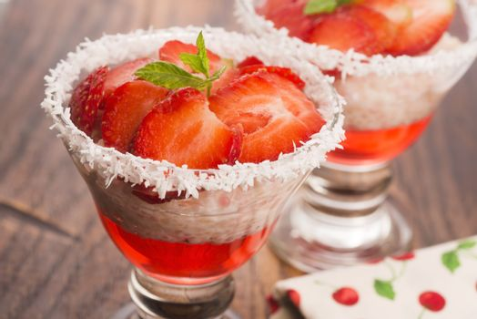 A serving of strawberry over tapioca and jelly