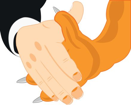 Handshake of the person and beast