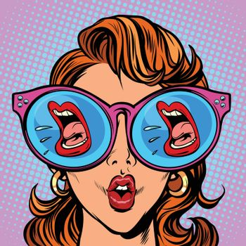 Woman with sunglasses. screaming mouth in the reflection. Comic cartoon pop art retro illustration vector kitsch drawing