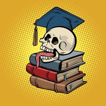 human skull on books