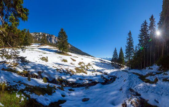 Panoramic view of Mount Piatra Craiului on winter