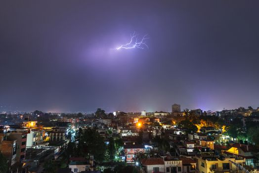 Night thunderstorm over Patan in the Kathmandu Valley, Nepal