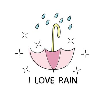 T shirt typography graphic with quote I love rain. Fashion print for wear