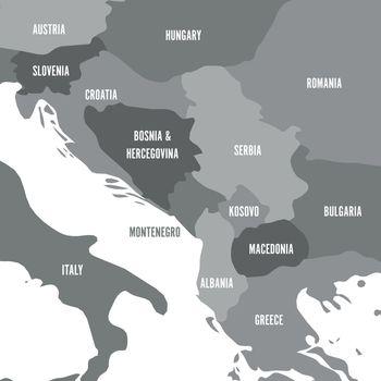 Political map of Balkans - States of Balkan Peninsula. Four shades of grey vector illustration