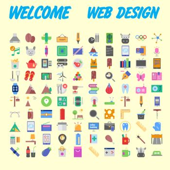 Flat seo optimization, business startup and essential, advertising, banking and finance icons set for website and mobile site and apps. Simple pictogram pack. Vector