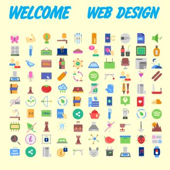 Icons online store. Base set in a flat style. multicolor on the color plate. Vector