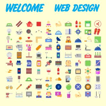 100 icon set. Trendy thin and simple icons for Web and Mobile. Light version. Vector