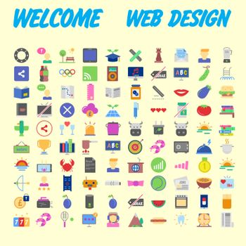 Set of 100 flat web icons on following themes - SEO and development, creative process, business and finance, office and business, security and protection, shopping and commerce. Vector
