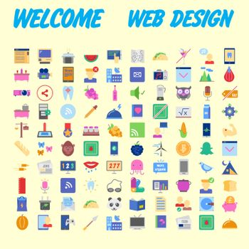 Universal set of social, technical, household icons isolated on background. Designed in a modern style - Material Design. Vector