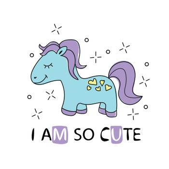 Cute cartoon little horse with purple hair. vector girlish t shirt print