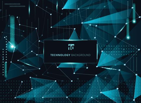 Abstract technology blue triangles and low polygon with lines connecting dots structure and elements on dark background. Vector illustration