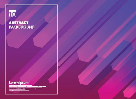 Abstract Colorful Hexagon dynamic shape composition purple background. Vector illustration