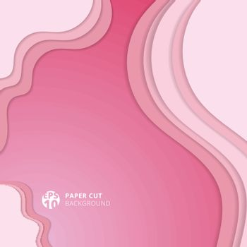 Abstract realistic soft pink paper cut background and textured with wavy layers. Vector illustration
