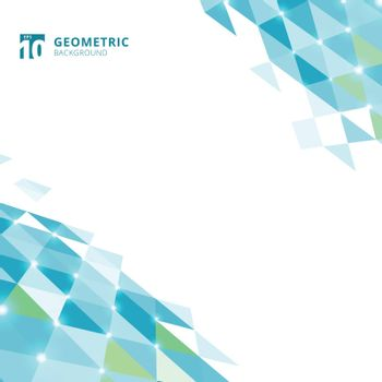 Abstract blue triangles geometric perspective on white background. Vector illustration
