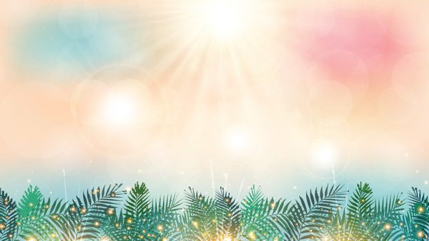 Summer season time on the beach with sunshine day and green palm leaves lighting effect background. Vector illustration