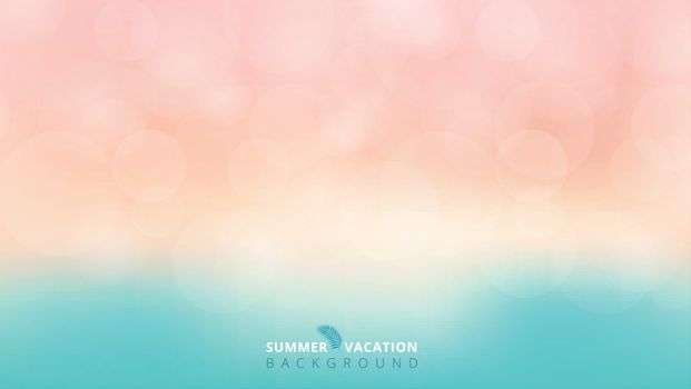 Summer season time blurred bokeh blue and pink background. Vector illustration