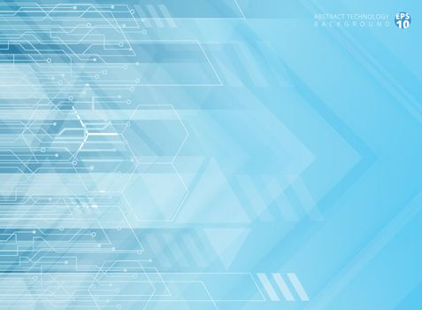 Abstract technology geometric corporate arrows with circuit board blue background. Vector illustration