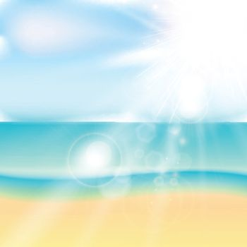 Summer beach and tropical sea with sunlight. Vector illustration