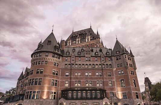 Chateau Frontenac at dusk in Quebec City in Canada