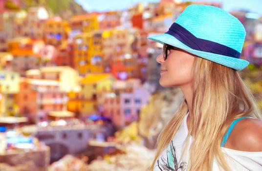 Tourist woman enjoying  Italy