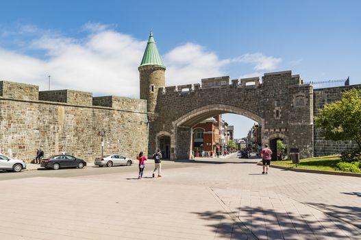 Porte Saint Jean Saint John's Gate part of Old Quebec, a UNESCO world heritage treasure in Quebec City, Canada.