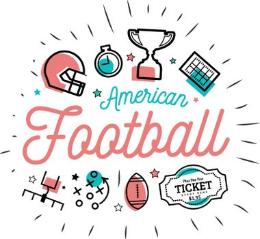 American football. Vector illustration in the style of thin lines with flat icons on white background