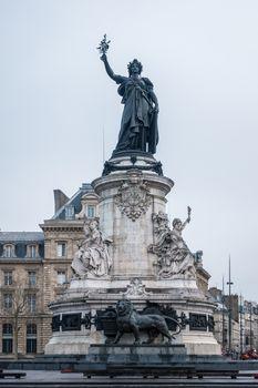 Marianne statue, national symbol of the French Republic at Place de la Republique in Paris, France